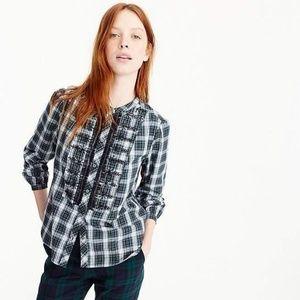 J. Crew Embellished Sequin Plaid Button-Up Shirt
